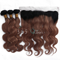 7A Grade Malaysian Virgin Hair Body Wave 3 Bundles With Ear to Ear 13x4 Lace Frontal Closure Ombre #1B/33 Natural Hairline