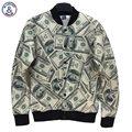 Mr.1991INC estilo o Mais Novo Dos Homens/Mulheres jaqueta de Washington dólares do dinheiro de Papel 3d impressão Engraçado 3d jaqueta uniformes estudante universitário