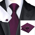 Fashion Deep Purple Solid Tie Hanky Cufflink Silk Jacquard Necktie Ties For Men Formal Business Wedding Party C-236