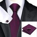 Moda Sólido de Color Morado oscuro Corbata Hanky Gemelos Corbata Lazos Para Los Hombres de Negocios Formal Del Banquete de Boda de Seda Jacquard C-236