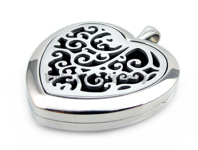 Peach Heart Shape Steel Cloud (30mm) Aromatherapy / Essential Oils Perfume Diffuser Locket Necklace vintage heart shape locket necklace for women