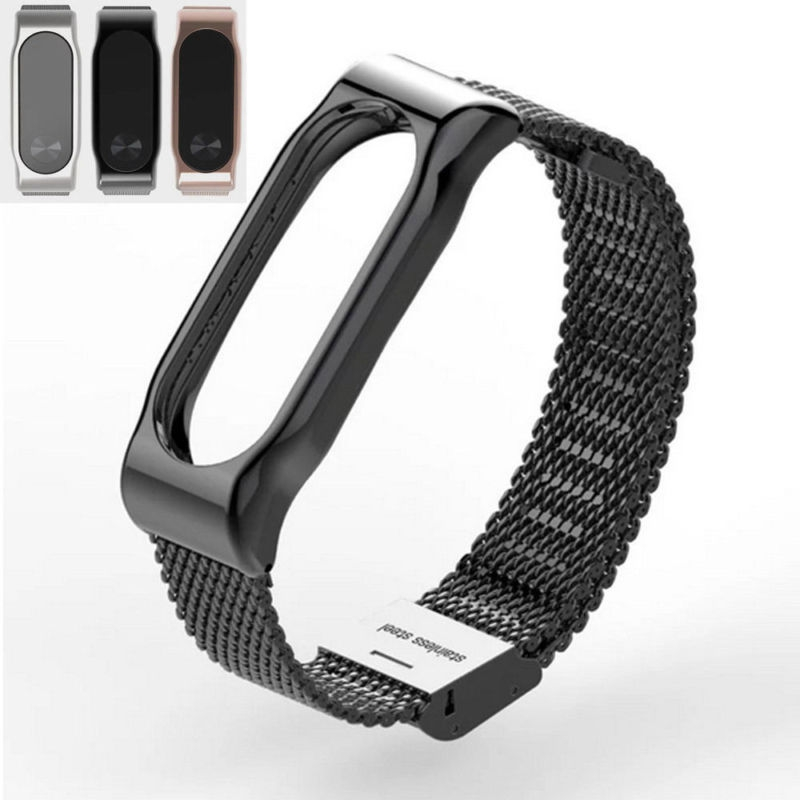 High Quality For Xiaomi Mi Band 2 Smart Stainless Steel Watchband Bracelet Replace Wrist Strap Wristband Black/Silver/Rose Gold top quality new stainless steel strap 18mm 13mm flat straight end metal bracelet watch band silver gold watchband for brand