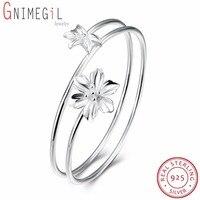 GNIMEGIL Real Pure 925 Silver Flower Bangle Bracelets Unique Design Floral Flowers Cuff Bangles For Women