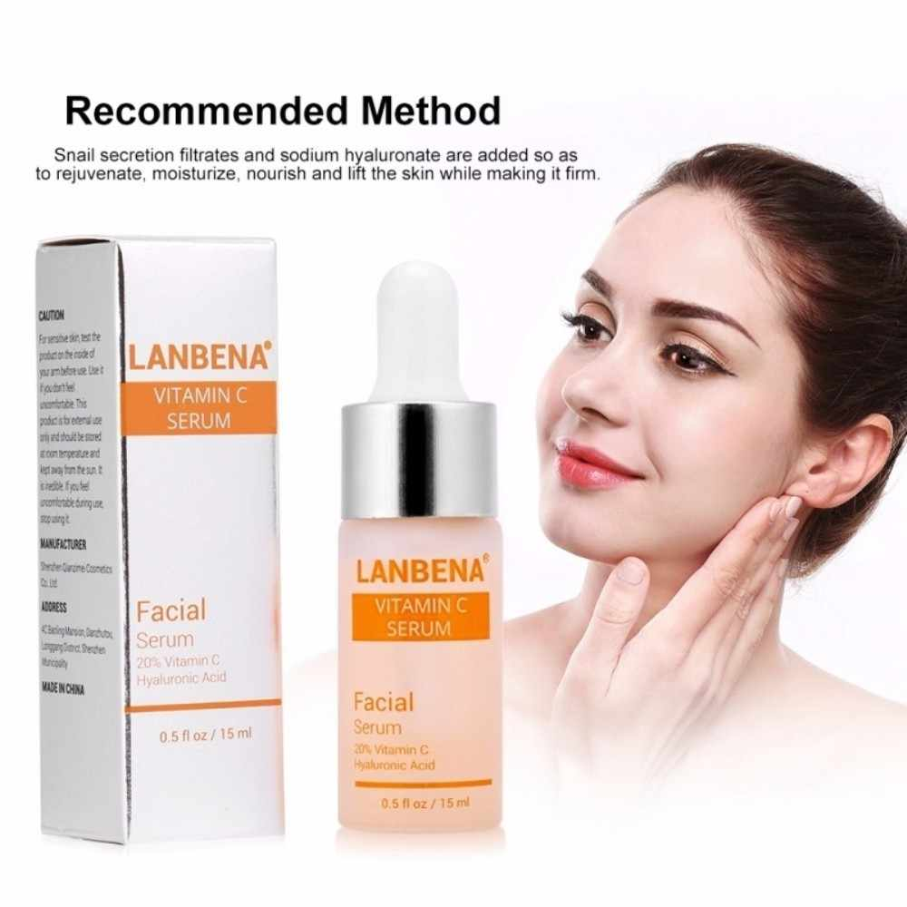 LANBENA Vitamin C Whitening Serum Hyaluronic Acid Face Cream Snail Remover Freckle Speckle Fade Dark Spots Anti-Aging TSLM1