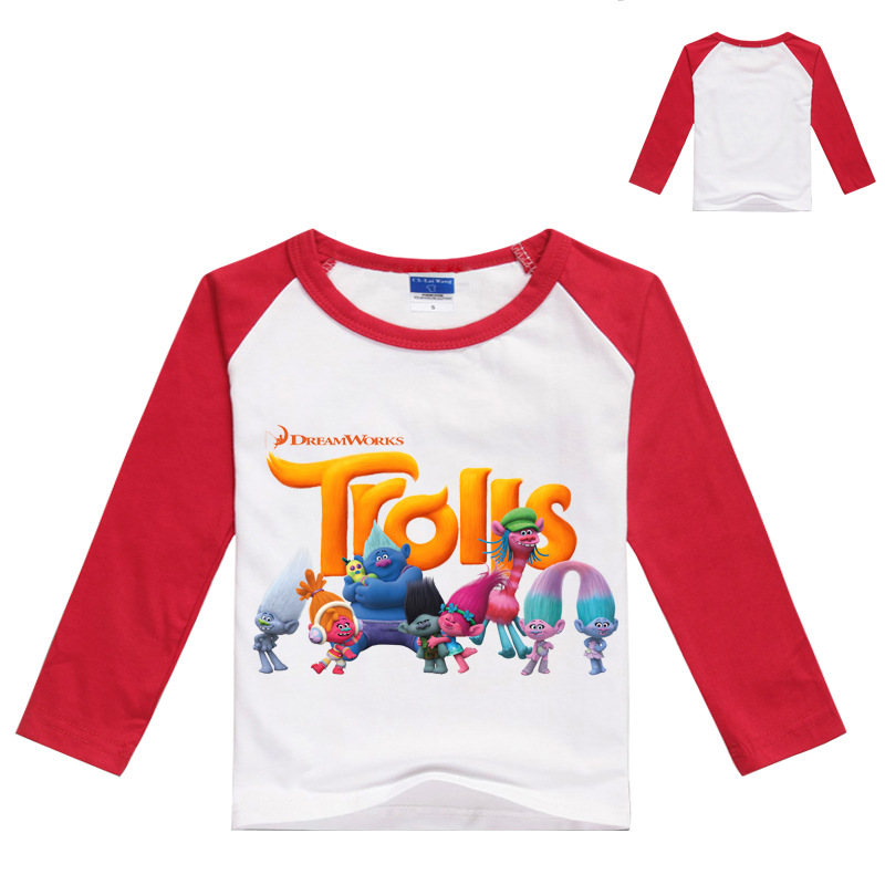 Kids Cosplay T-shirts For Girls Long Sleeve T Shirt Trolls Poppy Cotton Tees Splicing Tops For Baby Clothing Movie Costumes