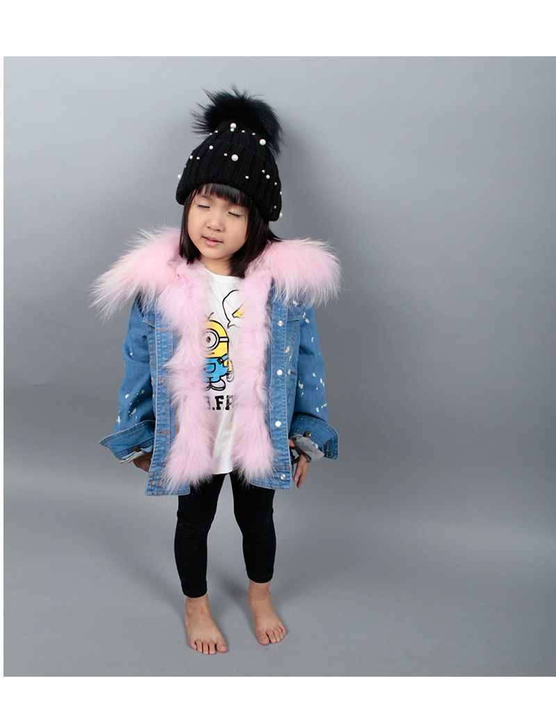2017 Winter Denim Coat Jacket Boy Girl Woman Man Warm Outwear Raccoon Fur Collar Or Fox Fur Collar With Rabbit Fur Liner