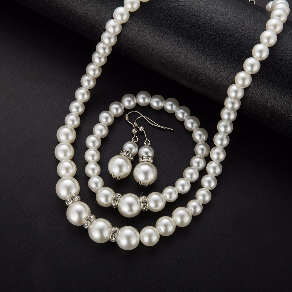 Simulated Pearl Wedding Jewelry Set