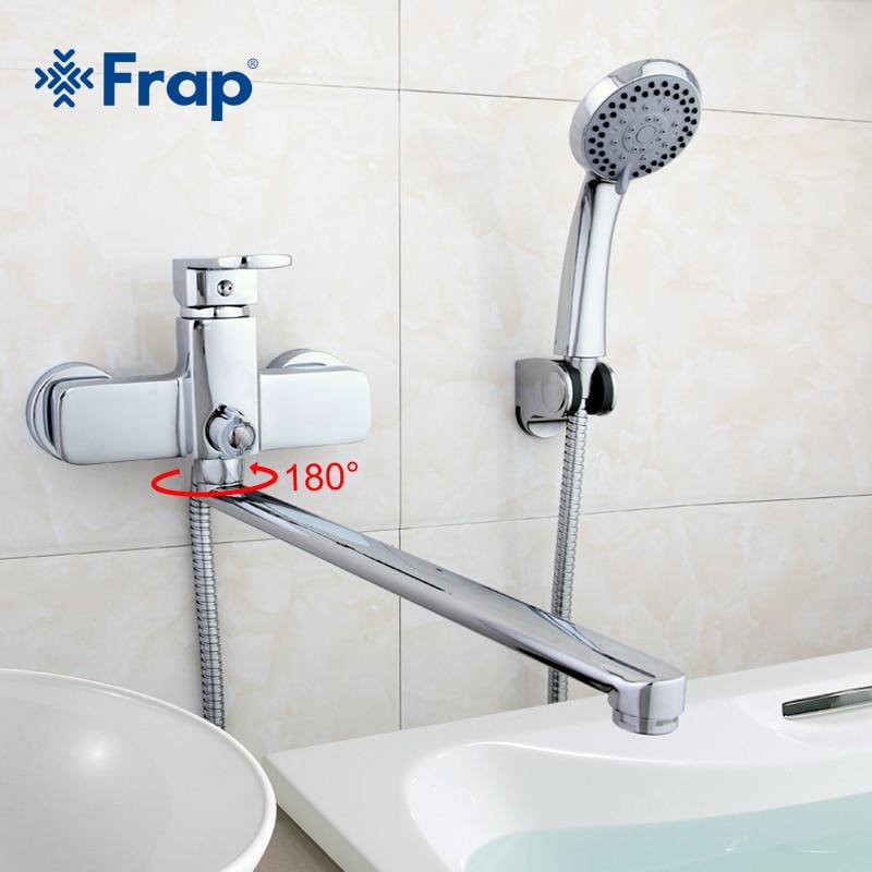 Frap 1 takım yüksek kaliteli pirinç gövde 35cm uzunluk çıkış döndürülmüş küvet musluk banyo duş musluk ABS duş başlığı F2273