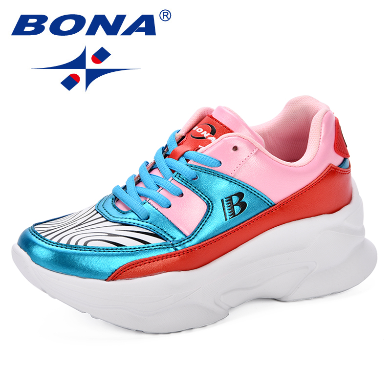BONA New Designer Women Running Shoes Outdoor Sport Shoes Wedge Wild Platform Heels Female Leisure Sneakers Lady Trendy Shoes camel shoes 2016 women outdoor running shoes new design sport shoes a61397620