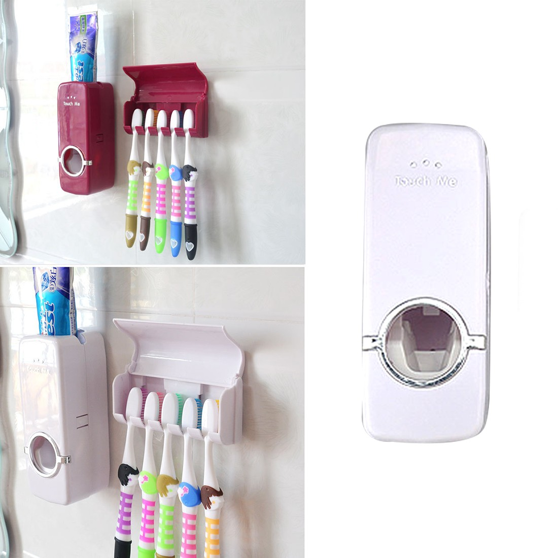 Toothpaste dispenser 5 toothbrush holder set wall mount for Cream bathroom accessories set