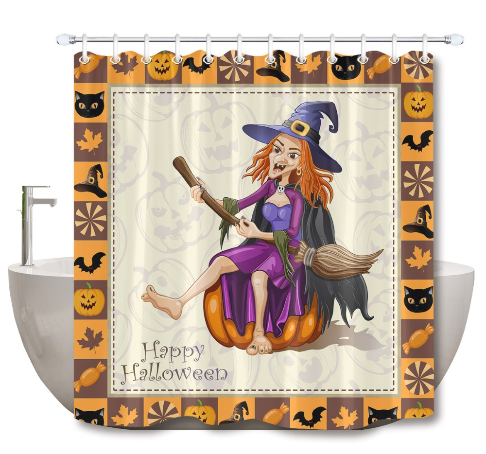 LB Witch On Pumpkin Halloween Frame Extra Long Shower Curtains Bathroom Curtain With Mat Set Waterproof Fabric For Bathtub Decor
