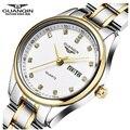 Мода Luxury Brand женские Часы GUANQIN Женщины Смотреть Двойной Календарь Алмазные Женщины Одеваются Горный Хрусталь Кварцевые Часы Montre Femme