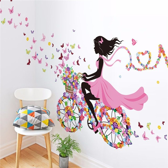 Diy removable wall decal sticker bike flower girl art vinyl mural home decoration children bedroom living