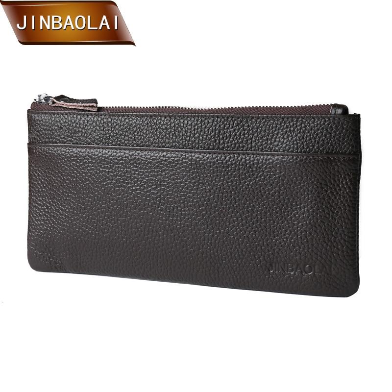JINBAOLAO 새로운 디자인 패션 지갑 여성 정품 가죽 지갑 브랜드 여성 지갑 남성용 긴 지퍼 지갑 전화 홀더 지갑