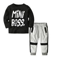 Children's Sports Suit Boys Clothes Round Neck T Shirt Grey Harlan Pants Set Girls Harem Tops & Pants Baby Girl Winter Clothes