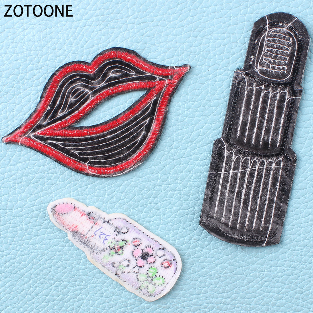 ZOTOONE 15pcs Lipsticks Patches for Clothing Wild Embroidered Patch for Clothes DIY Lip Badges Applications Applique on Garments in Patches from Home Garden
