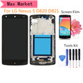 For LG Google Nexus 5 D820 D821 Black LCD Display Touch Screen Digitizer Assembly Bezel Frame with Tools and Film