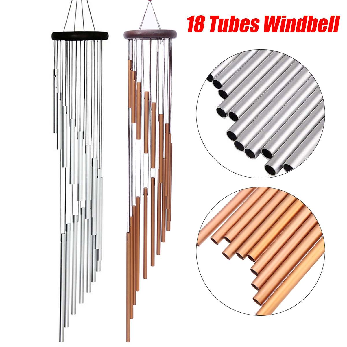 90cm Large Deep Relaxing 18 Tubes Wind Chimes Metal Wind Bells Handmade Ornament Garden Patio Outdoor Hanging Decor(China)