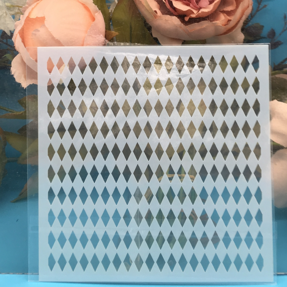1Pcs 13cm Diamond Texture DIY Craft Layering Stencils Wall Painting Scrapbooking Stamping Embossing Album Paper Template F5170-7