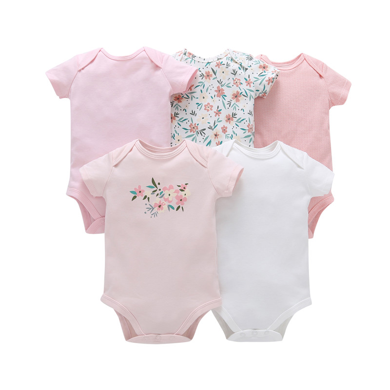 5pcs number of high quality cotton baby   romper   Unisex 0-24 the neck of the romantic boy and girl newborn infant clothing baby