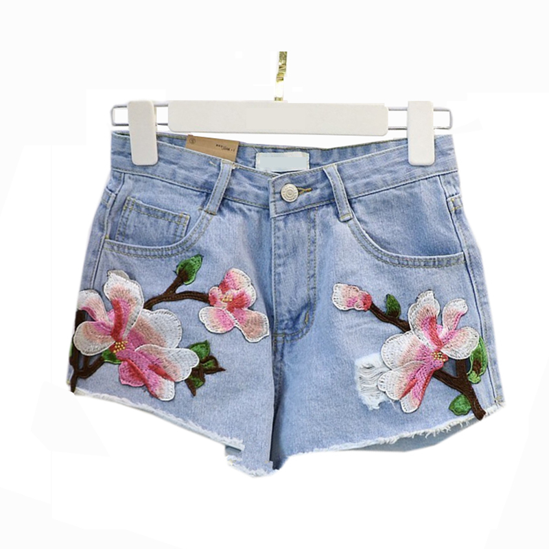 Xl plus size floral embroidery denim shorts women light