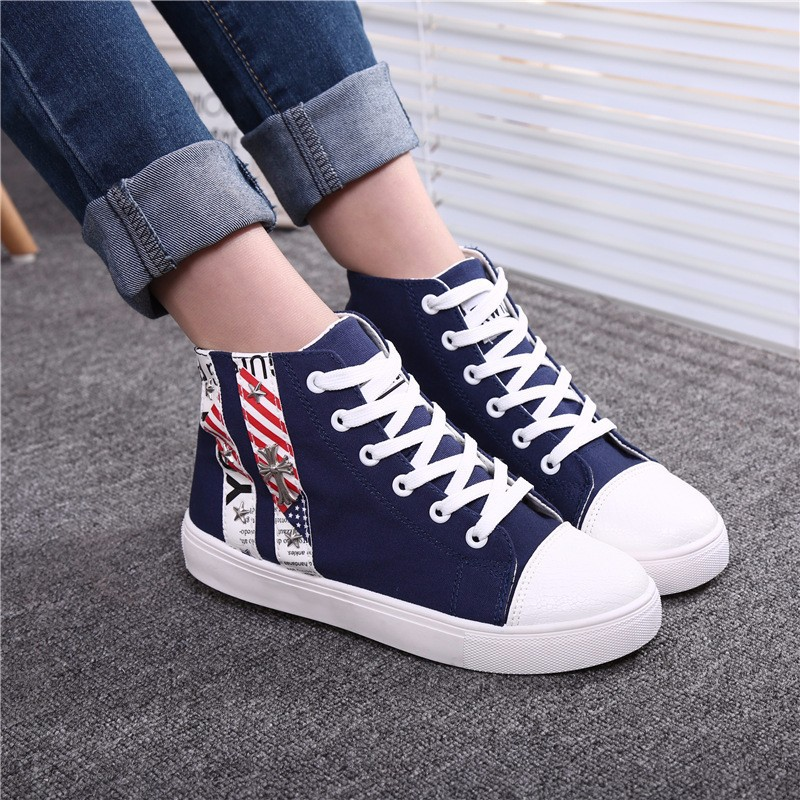 Flat High Top Canvas Women Shoes 17 Colors Spring Autumn Women's Flats Espadrilles Lace Up Casual Shoes Foot 22-24.5CM YD87 (22)