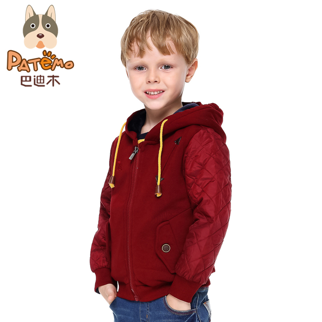 PATEMO Boys Hooded Jacket Thick Autumn&Winter Coat Flannel Lining Keep Warm Kids Boys Clothes Wine Red/Navy Blue Colors