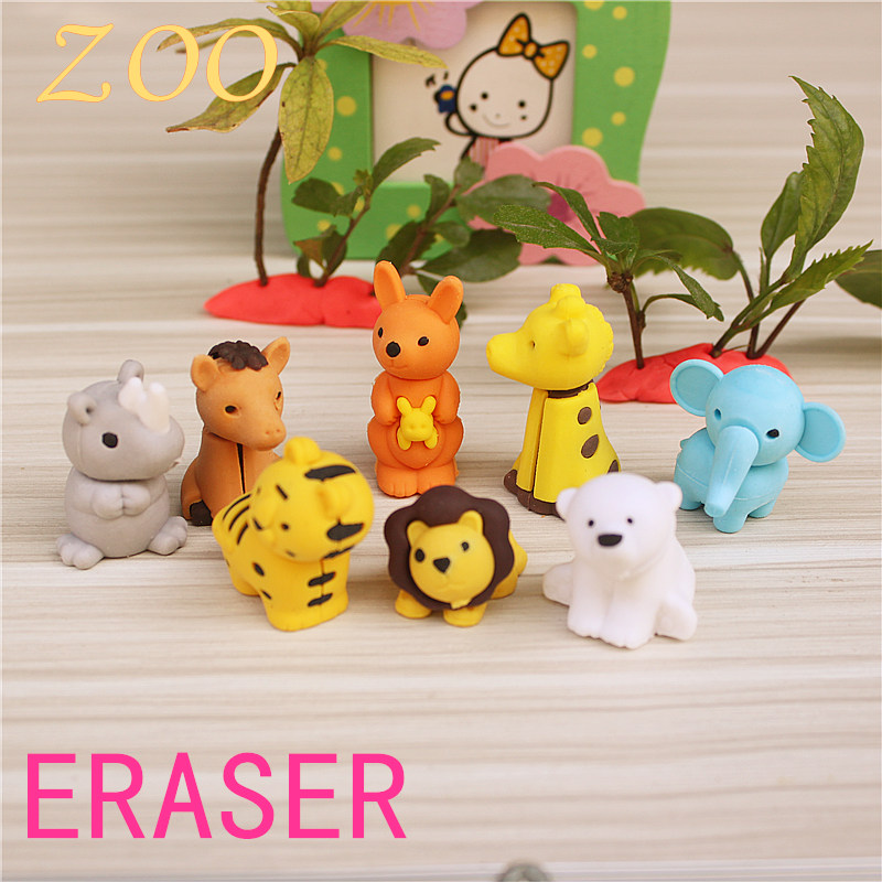 4PCS/lot Animal Modeling Eraser Zoo Creative Pencil Eraser Cute Kids Gift  Novelty School Stationery For Student