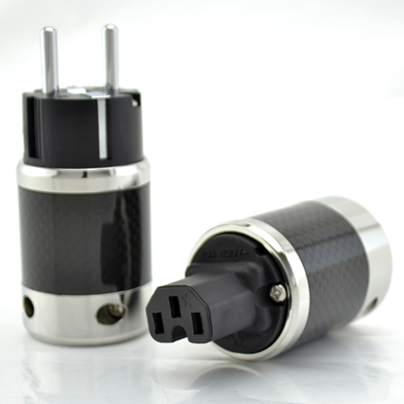 Paire câble d'alimentation ca plaqué or Fiber de carbone haut de gamme connecteur électrique femelle IEC Hifi 2 broches EU EUR schuko prise de courant-in Prise électrique from Electronique    1