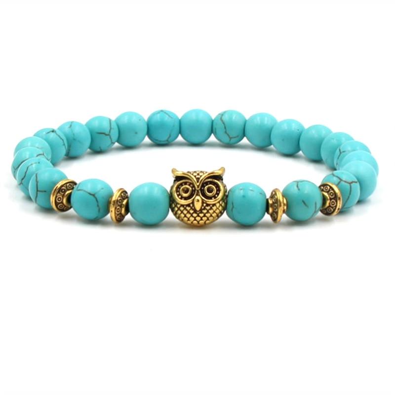 Leopard Tiger Eye bead leo Head Men Women Bracelet Owl Buddha beads Bracelets Bangles Charm Natural Stone Bracelet yoga Jewelry
