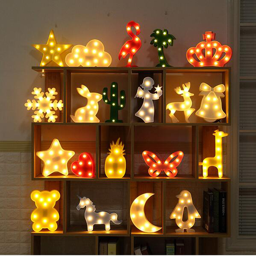 Luminaria Novelty 3D Marquee Unicorn Flamingo Table LED Lamp Love Children's Night Light Star Moon Cloud Heart Deer Decor Letter