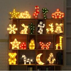 Luminaria Novidade 3D Marquise Unicórnio Flamingo Mesa CONDUZIU a Lâmpada Amor Luz da Noite das Crianças Estrela Lua Nuvem Coração Decoração Veados carta