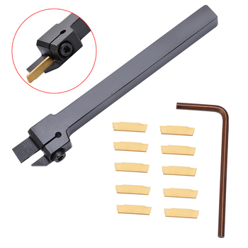 10pcs MGMN200 Carbide Inserts Golden Blades + 1pc MGEHR1010-2 Turning Tool Holder Boring Bar with Wrench