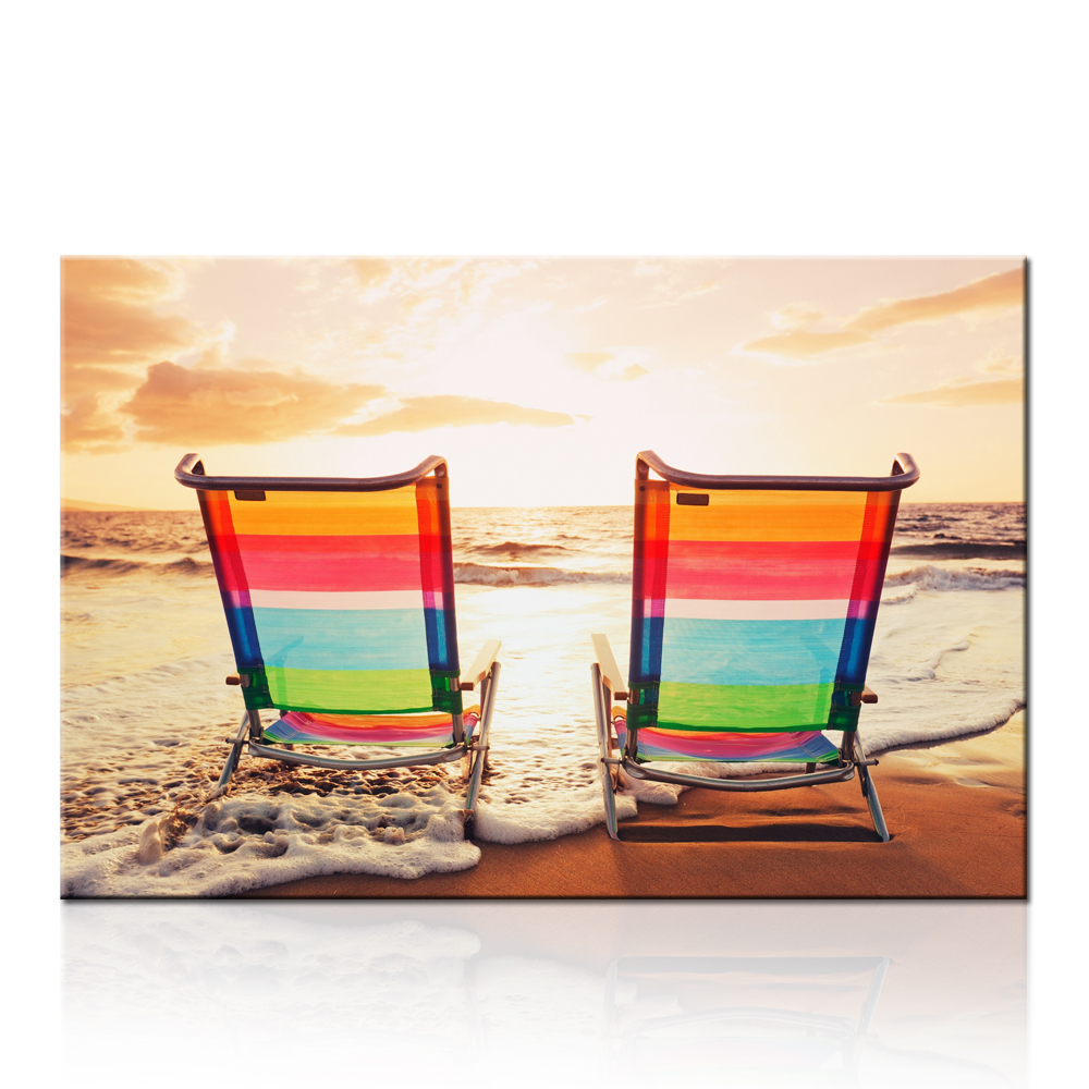 Beach chairs on the beach painting - Top Quality Seascape Canvas Paintings Beach Chair On Seaside Print For Living Room And Bedroom Decor