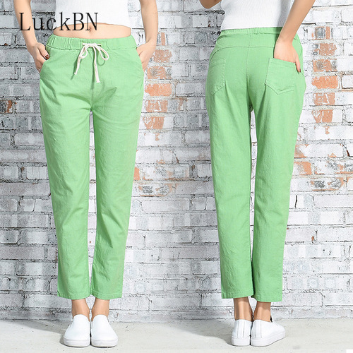 2020 Cotton Linen Sweat Pants Casual Summer Spring Women's Pants Plus Size Ankle Length Wide Leg Pants Straight Solid Trousers