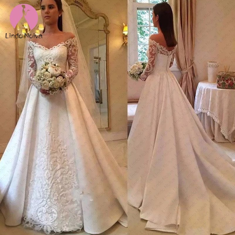 New Arrival Simple Satin Wedding Dresses 2019 Sheer Long
