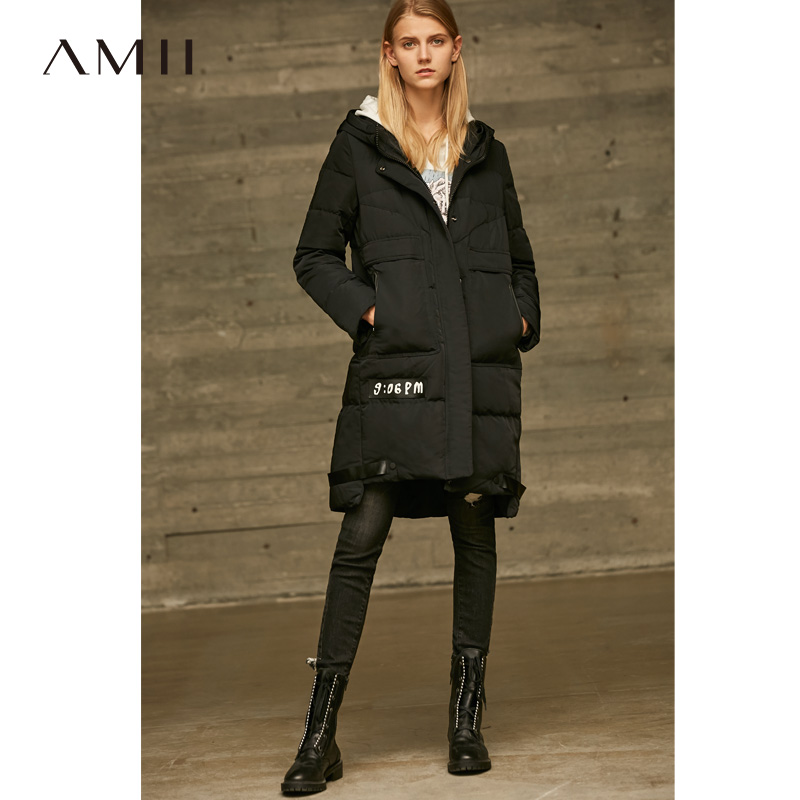 Amii Minimalist Hooded Long   Down   Jackets Women Winter Thick 2018 Causal Solid Spliced 90% White Duck   Down     Coat