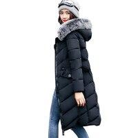 2017 Fur Collar Women Winter Hooded Coat Female Outerwear Coat Girls Warm Long Style Slim Parkas