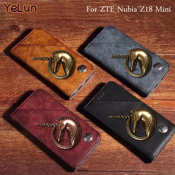 На Алиэкспресс купить чехол для смартфона yelun for zte nubia z18 mini luxury metal unicorn leather wallet stand flip cover case for zte z18 mini mobile phone bag 4 color