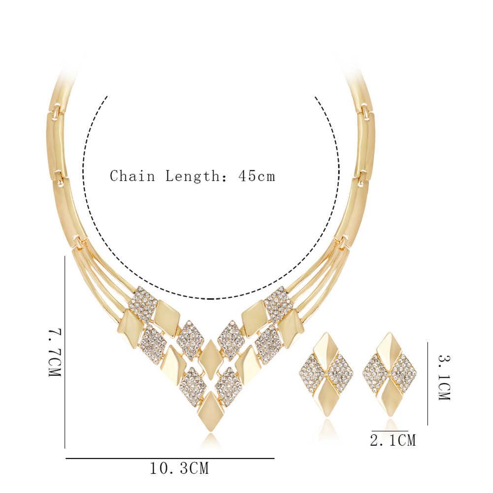 Kobiety ślub KC kształt rombu naszyjnik kolczyki biżuteria ze strasu zestaw etiopski nigeryjczyk collier africain biżuteria kostiumowa