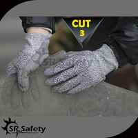 SRSAFETY 12 Pairs Of HPPE Anti cut gloves Cut-resistance gloves with PU on palm,cut level 3-DY110PU