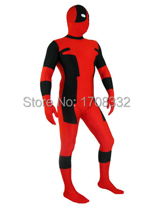 Deadpool Costume-red and black fullbody  Zentai  suit spandex Deadpool Superhero Costume