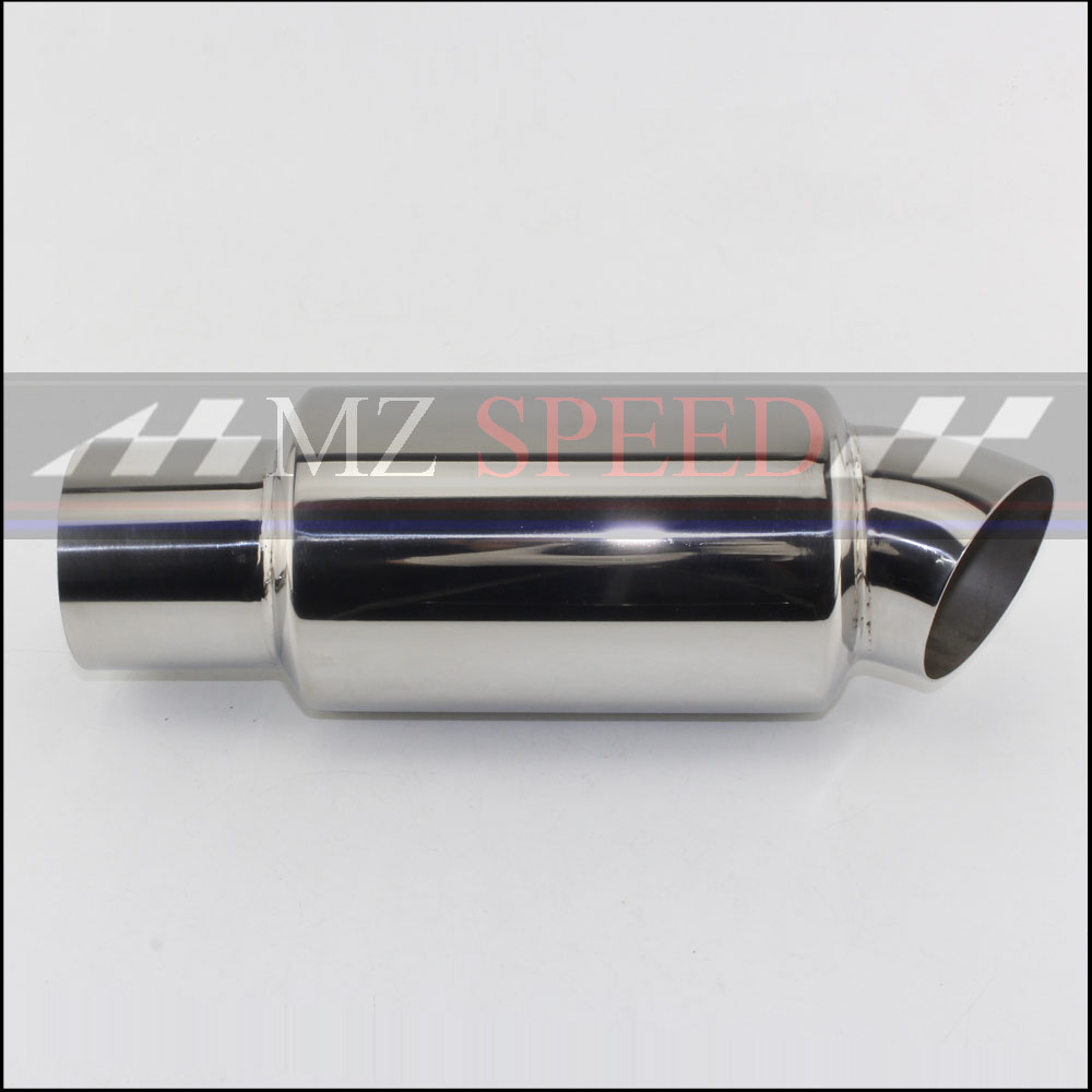 """1x Stainless Steel 2.5/"""" in to 2.5/"""" out Car Exhaust Pipe Tornado Muffler Silencer"""