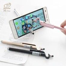 5pcs Wholesale Multi-function Stylus Tablet Touch Pen Mobile Phone Stand Holder 0.5mm Black Gel Promotion Gift Logo Custom