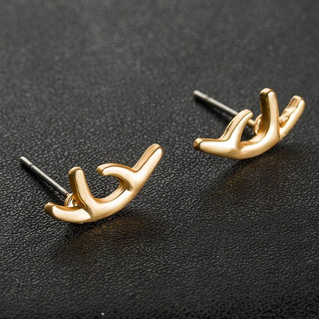 0073736cb New Fashion Metal Silver And Gold Color Deer Horn Antler Stud Earrings For  Women Jewelry Accessories Gift