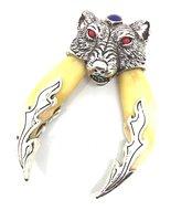Mens Vintage Zilveren Rode Ogen Dubbele Wolf Tand Hanger Ketting Sieraden Gift Patroonheilige