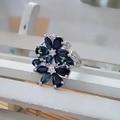 Diseño distinto dos flores forma natural azul zafiro anillo de plata 925 y piedra natural anillo de la joyería fina