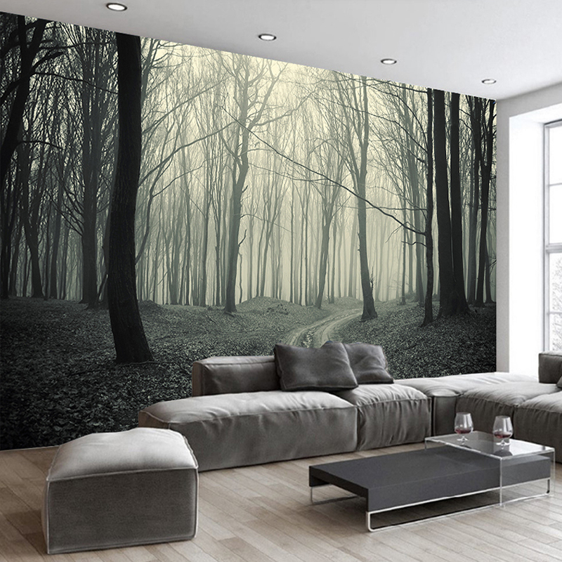 Custom Photo Wallpaper Large Wall Painting Background Wall Paper Modern Simple Living Room Sofa Forest Tree 3D Mural Wallpaper