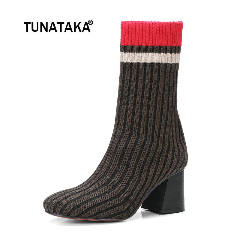 Female Knitting Stretch Sock Boots Fashion Round Toe Hoof Heel Ankle Bootie Autumn Shoes Black Brown