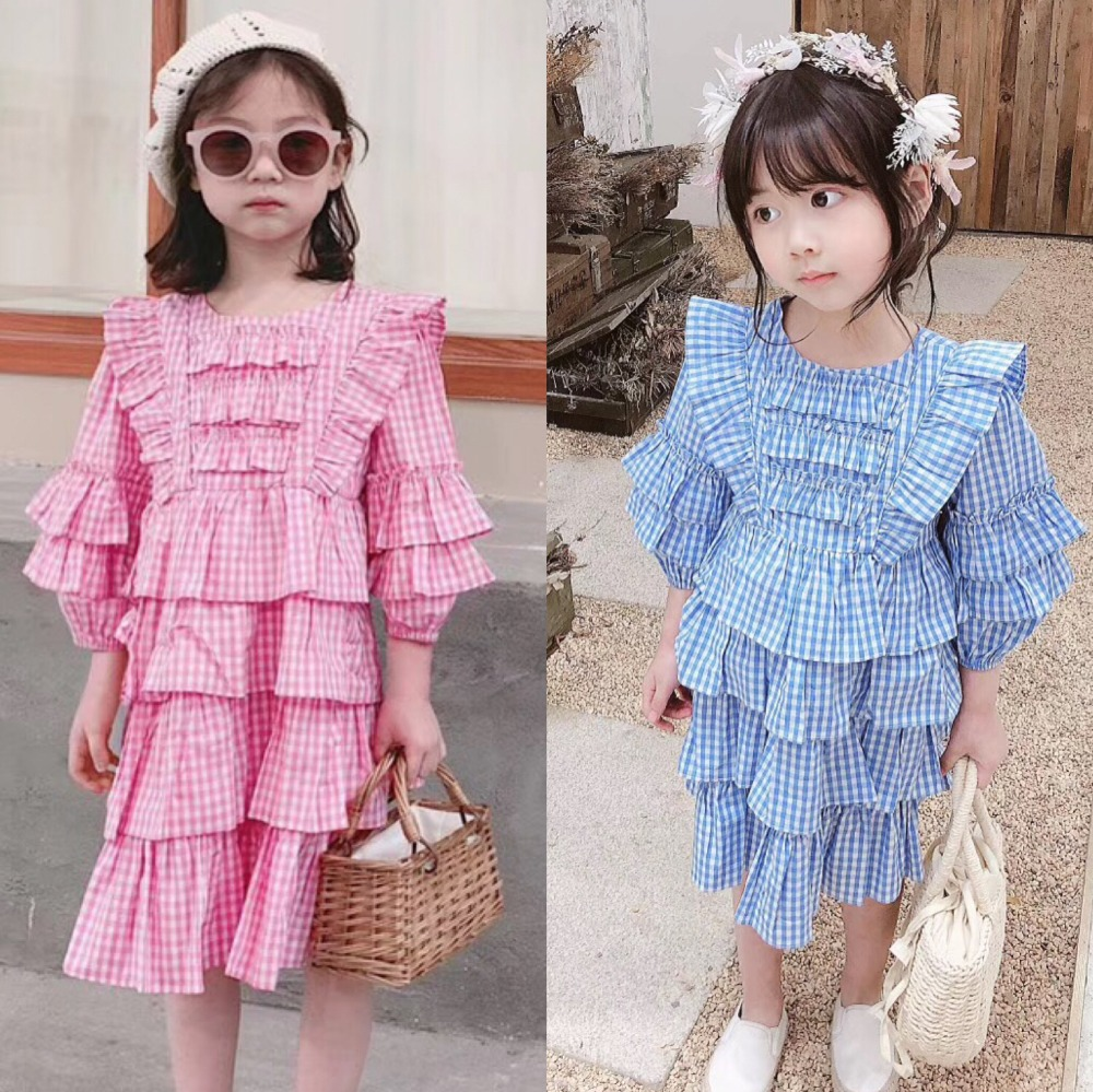 2019 New arrived spring summer baby girls dress pink blue plaid cotton three quarter sweet kids princess dresses 2019 New arrived spring summer baby girls dress pink blue plaid cotton three quarter sweet kids princess dresses
